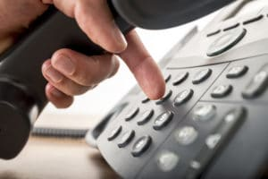 dialing a telephone number on a landline